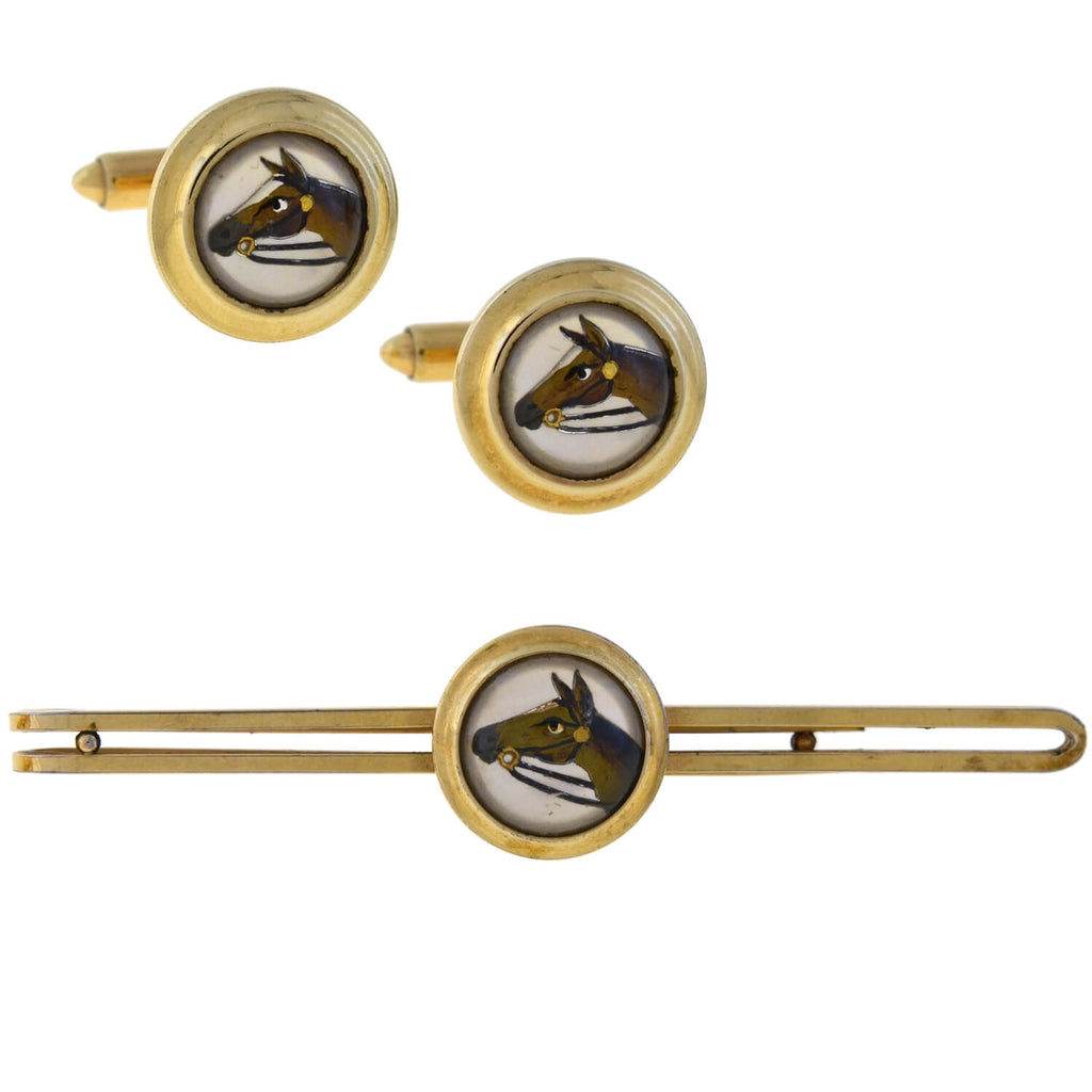 KREMENTZ Vintage Gold-Filled Essex Crystal Horse Cufflinks + Tie Clip Set
