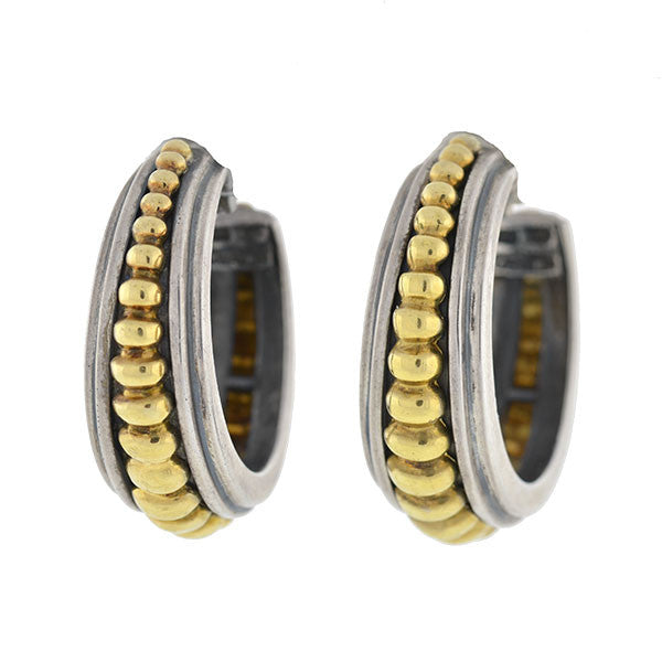 LAGOS Estate Sterling & 18kt Hoop Earrings