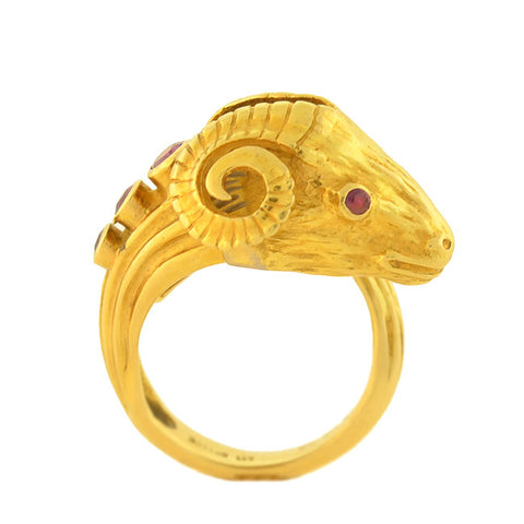 LALAOUNIS Estate 18kt Ruby Diamond Ram's Head Ring