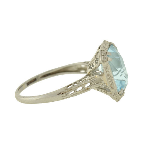 LARTER Edwardian 14kt Aquamarine Filigree Ring (ON HOLD)