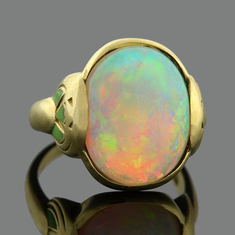 LARTER & SONS Art Nouveau 14kt Opal & Green Enamel Ring