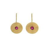 LARTER & SONS Retro Petite 14kt Textured Gold & Ruby Earrings