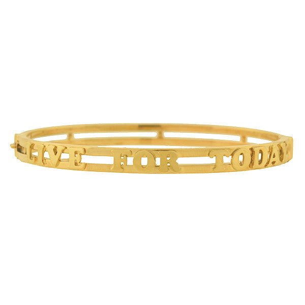 "Estate 14kt ""Live For Today"" Bangle Bracelet 11.6G"