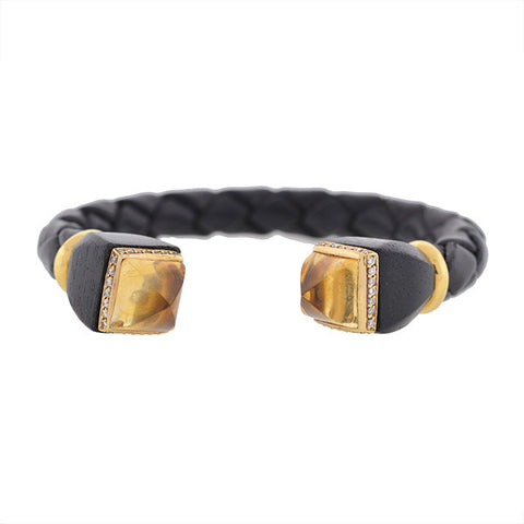 L'OREE DU BOIS Estate 18kt Citrine, Wood & Diamond Bracelet