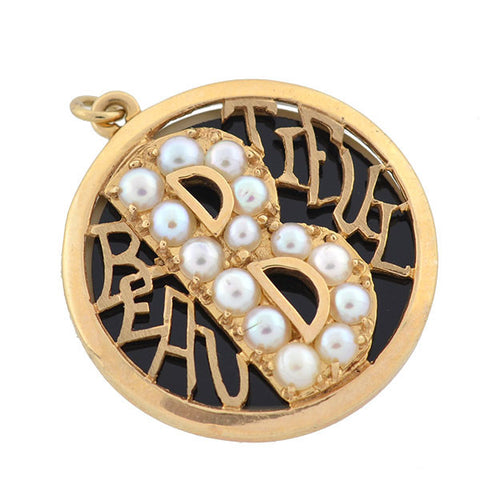 "LUCIEN PICCARD Retro 14kt Pearl ""BEAUTIFUL"" Pendant"