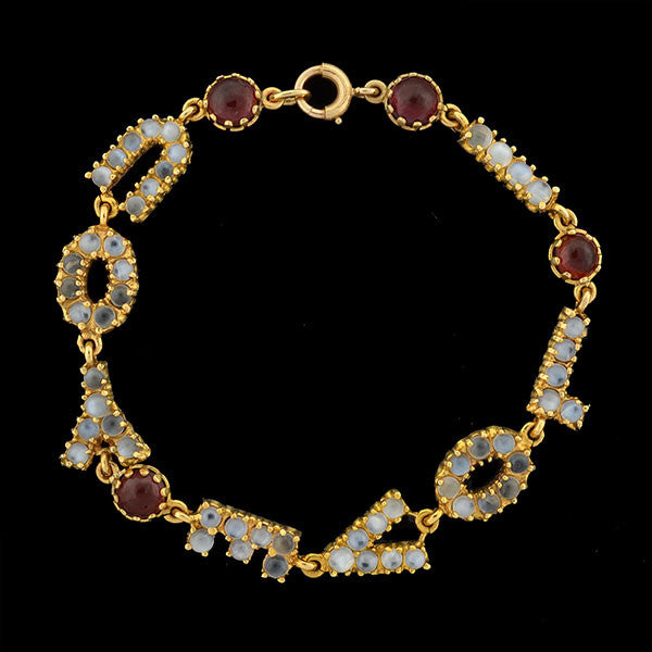 "LUCIEN PICCARD Retro 14kt Moonstone Garnet ""I Love You"" Bracelet"