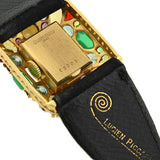 LUCIEN PICCARD 14kt Multi Gemstone Suede Watch