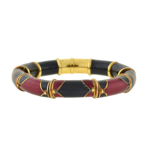 LA NOUVELLE BAGUE 18kt Red & Black Enamel Bracelet