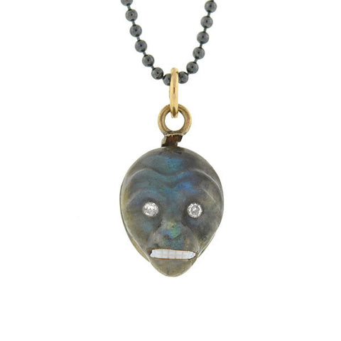 Victorian 14kt Carved Labradorite & Diamond Monkey Charm/Pendant & Chain