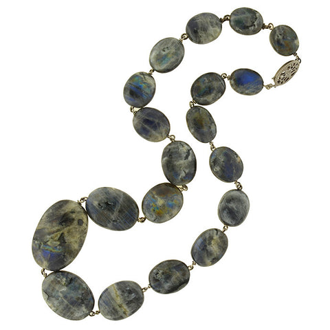 Vintage Gold-Filled Polished Labradorite Link Necklace