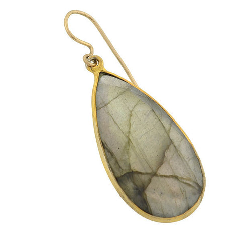 Estate Large Gold-Filled Labradorite Teardrop Earrings