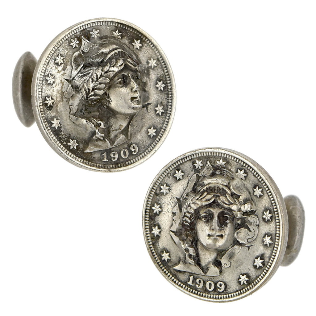 "Edwardian Silver ""Liberty Head Nickel"" Genuine Coin Cufflinks"