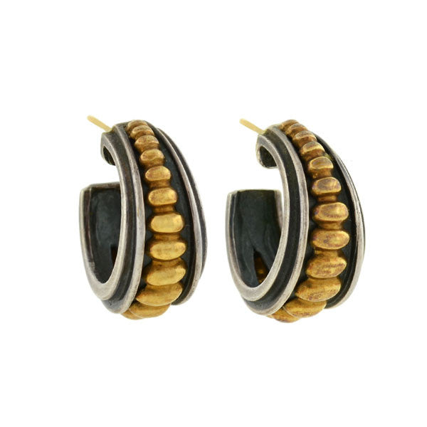 LAGOS Estate Caviar Collection Sterling 18kt Hoop Earrings