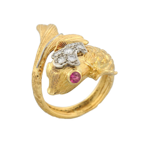 LALAOUNIS Estate 18kt Diamond + Ruby Fish Bypass Ring