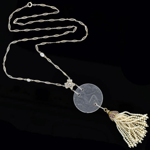LALIQUE French Art Nouveau 18kt Crystal & Pearl Tassel Necklace