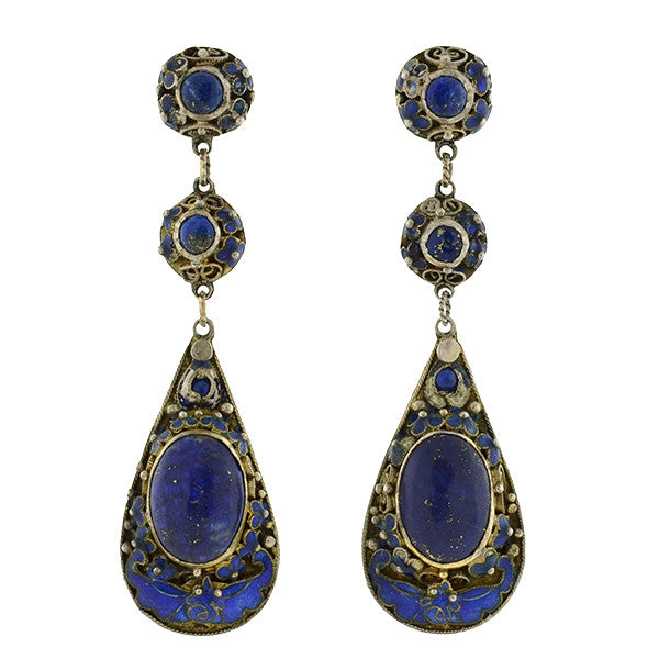 Vintage Chinese Silver Lapis & Blue Enamel Teardrop Earrings