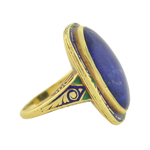Art Deco 14kt Gold Large Cabochon Lapis & Enamel Ring
