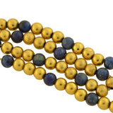Vintage 14kt Gold + Sodalite Bead Necklace 17.25