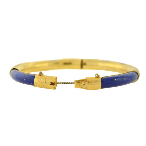 Vintage Gold Plated Lapis Lazuli Hinged Bangle Bracelet