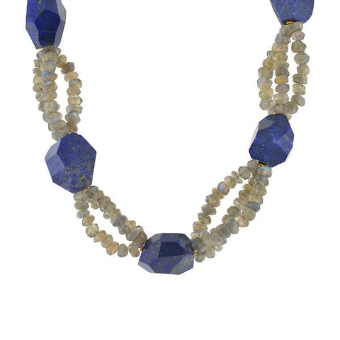 Estate 18kt Lapis & Labradorite Chunky Beaded Necklace