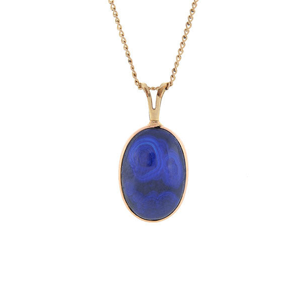 Estate 14kt Gold & Lapis Lazuli Pendant Necklace 16""