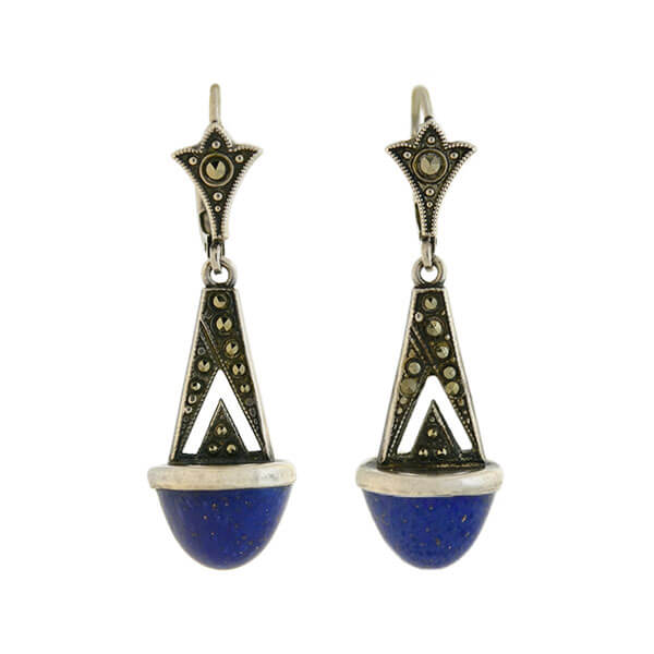 Art Deco German Silver Marcasite + Lapis Lazuli Drop Earrings