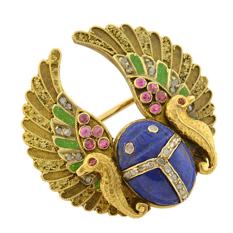 Art Nouveau 14kt Egyptian Revival Lapis, Ruby + Diamond Enameled Scarab Pin