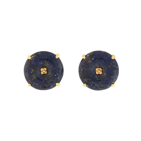Estate 14kt Carved Lapis Stud Earrings