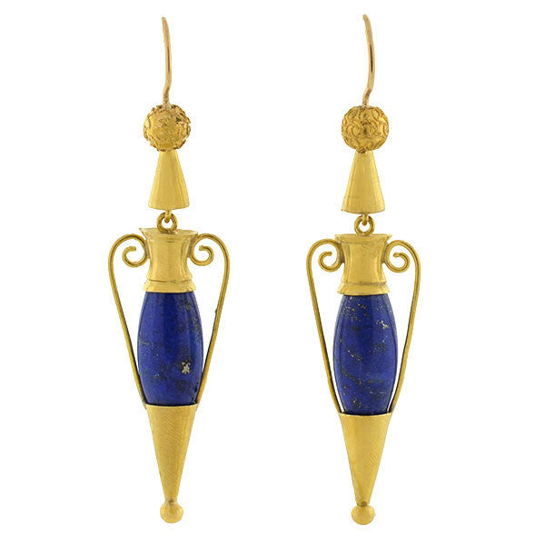 Victorian 15kt Lapis Hanging Urn Earrings