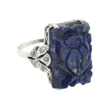 Arts & Crafts Sterling Carved Lapis Lazuli + Rose Cut Diamond Ring