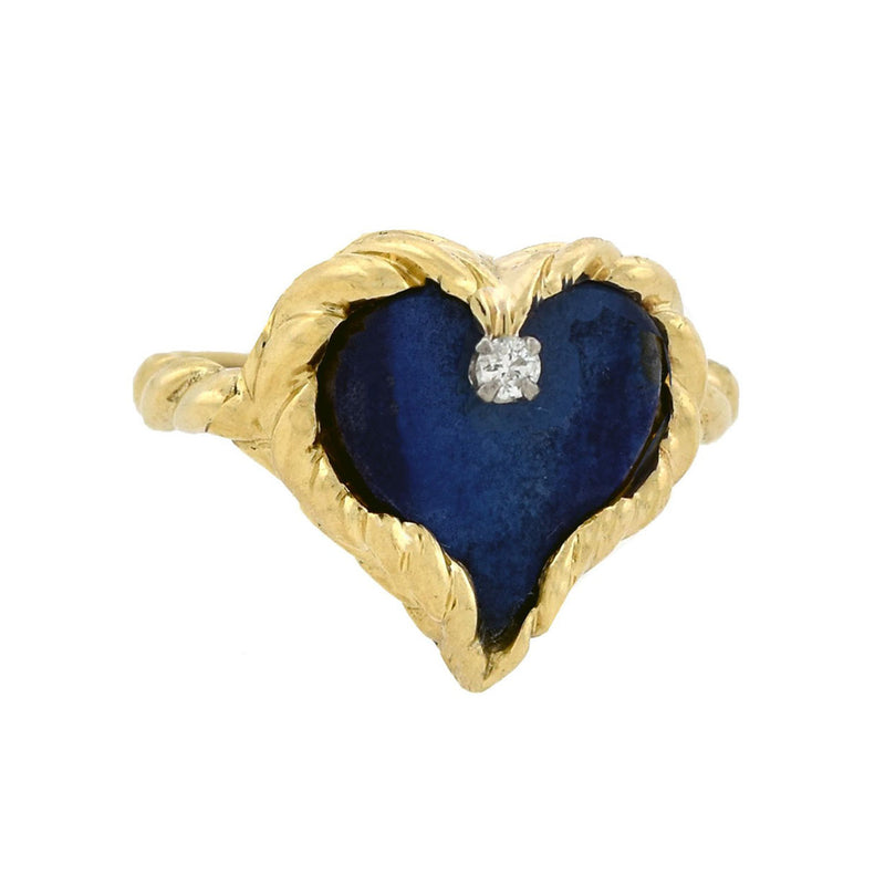 Art Deco 18kt Two-Tone Diamond + Sapphire Ring