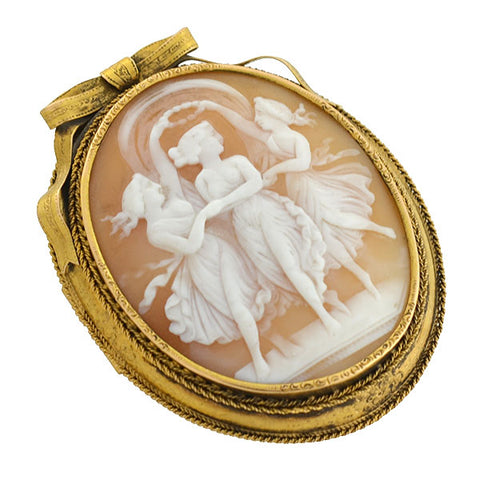 "Victorian Huge 15kt Carved Shell ""Three Graces"" Cameo Pin"