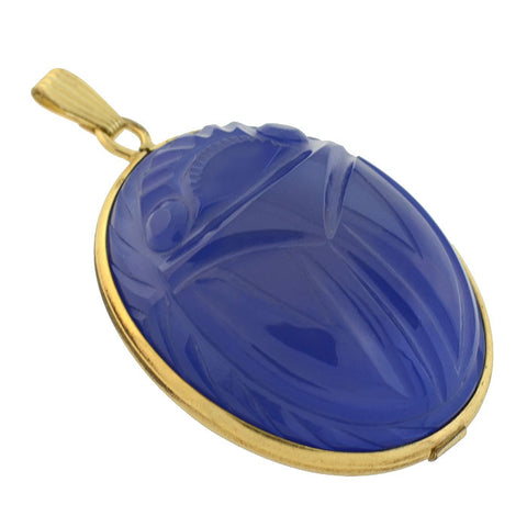 Vintage Gold-Filled Large Carved Agate Scarab Pendant