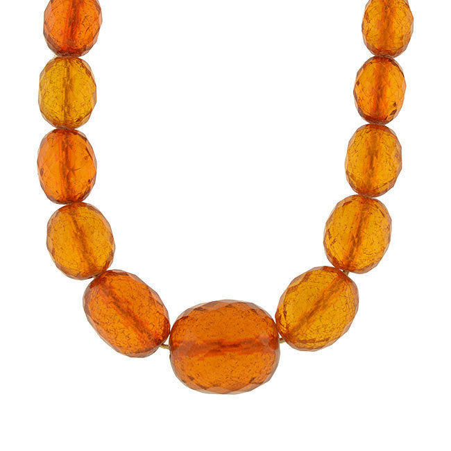 Art Deco Long Faceted Amber Bead Necklace 41""