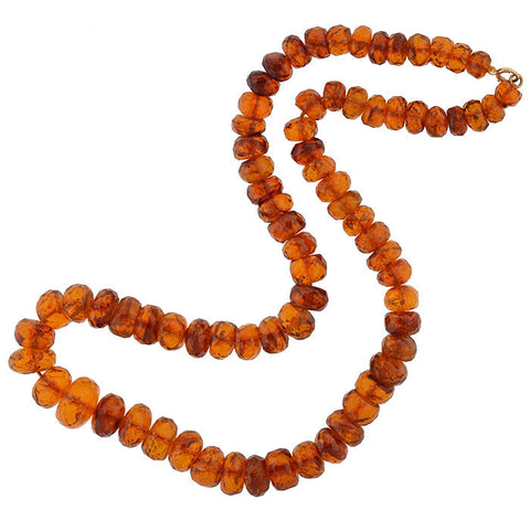 Late Art Deco Faceted Amber Bead Necklace 31""