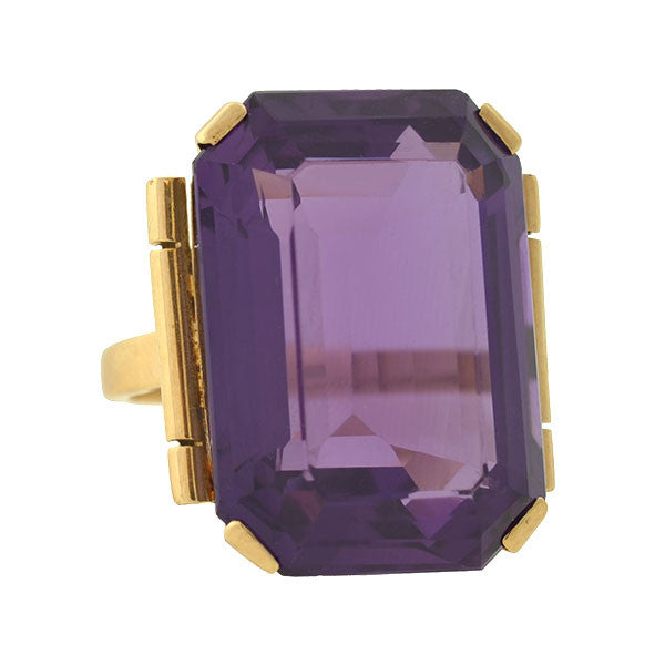 Retro Huge 9kt Amethyst Cocktail Ring