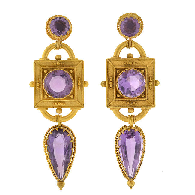 Victorian 18kt Gold Dramatic Amethyst Earrings