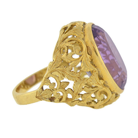 Victorian Huge 18kt Amethyst Filigree Ring