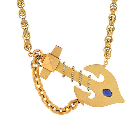 Victorian Huge 18kt/Sterling + Sapphire Anchor Necklace