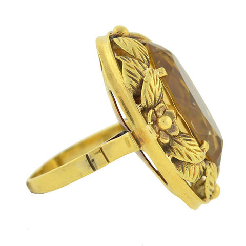 Arts & Crafts 18kt Gold & Citrine Floral Wreath Ring