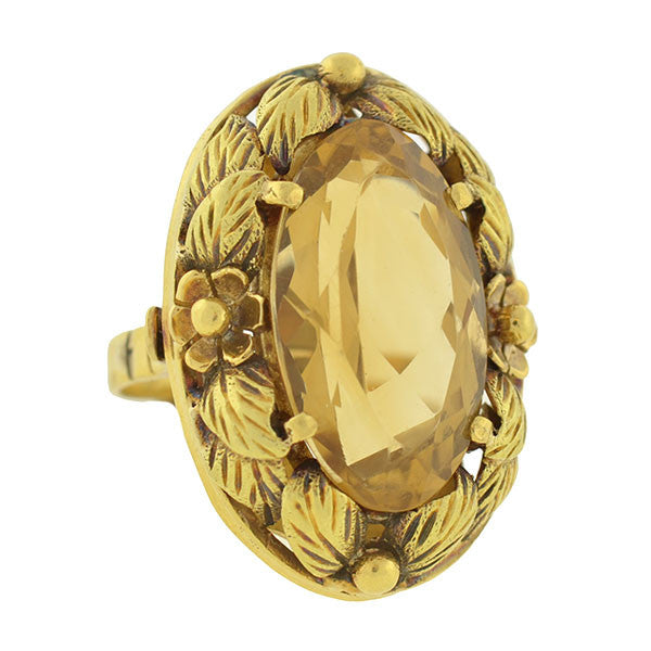 Arts & Crafts Era 18kt Gold & Citrine Floral Wreath Ring