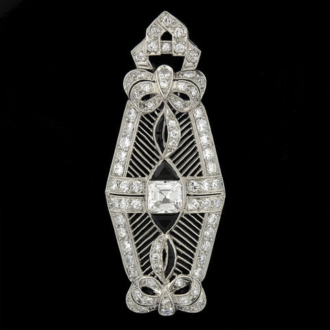 Art Deco Platinum Asscher Cut Diamond & Onyx Filigree Pendant 1.50ctw
