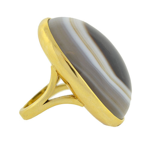 Estate Huge 18kt Gold & Banded Agate Ring