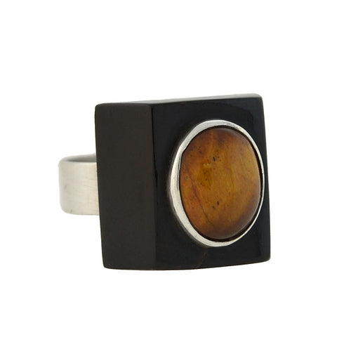 Vintage Sterling Silver Black Coral & Tiger's Eye Ring