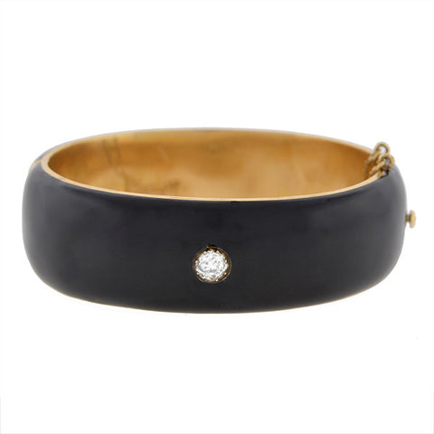 Victorian 14kt Black Enamel & Diamond Wide Bangle Bracelet