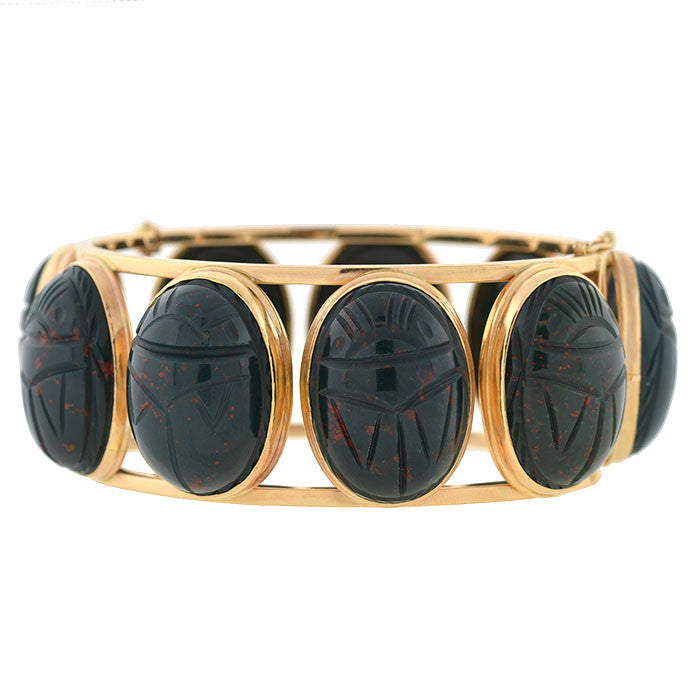 Retro 14kt Large Carved Bloodstone Scarab Bracelet