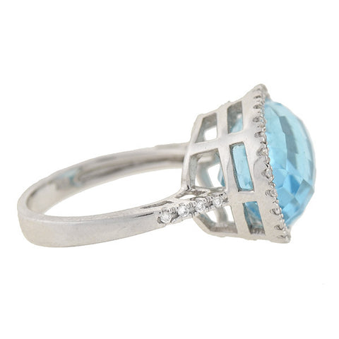 Estate 14kt Blue Topaz & Diamond Ring 8ct center