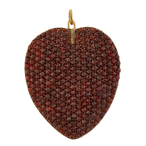 Victorian Large Sterling Gilt Bohemian Garnet Encrusted Heart Locket