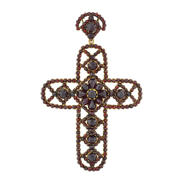 Victorian Large Brass & Bohemian Garnet Filigree Cross Pendant