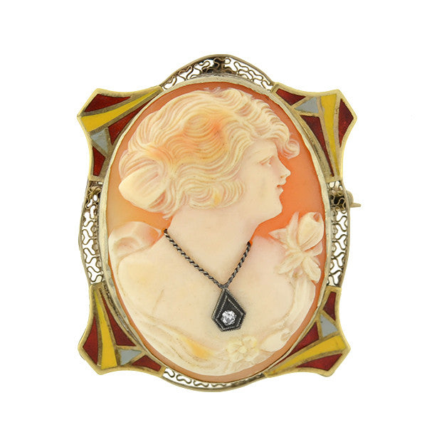 Art Deco 14kt Cameo w/ Enamel & Diamond Pin/Pendant